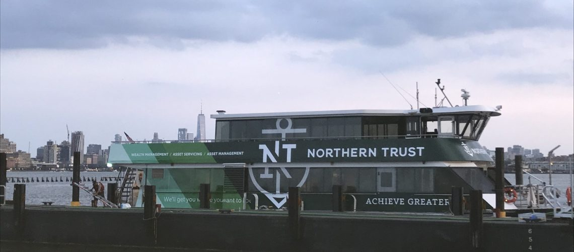 Installation of Northern Trust Wrapped Ferry (1 of 3)